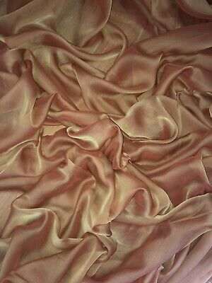 "1 Mtr Orange Cationic Sheer Two Tone Bridal,dress Chiffon Fabric ..58"" Wide"