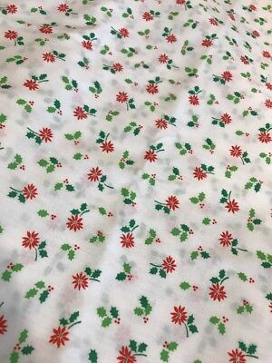 Vintage Cotton Christmas Fabric White Background W/ Red Poinsettias New BTY