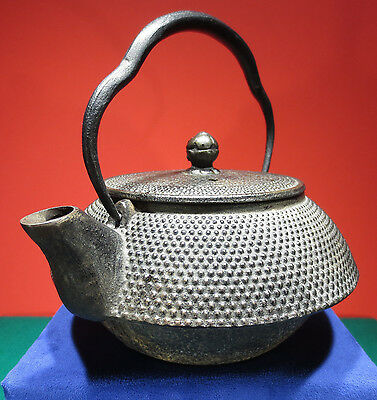 "Vintage Cast Iron Japanese Tea Kettle Signed ""Nanbu Tekki"" Tetsubin"