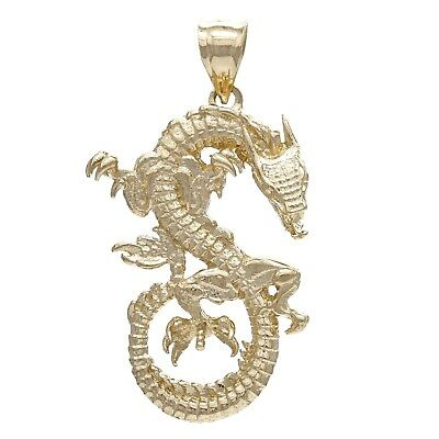14k Yellow Gold Solid Detailed 3D Good Luck Dragon Charm Pendant 6.5g
