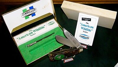 """Camillus 10F Knife American Wildlife """"Bugling Elk"""" USA Made W/Packaging,Papers"""