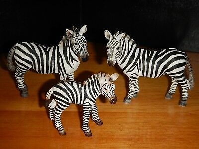 SCHLEICH Family Lot of 3 Zebra Figurines Mare & Foal