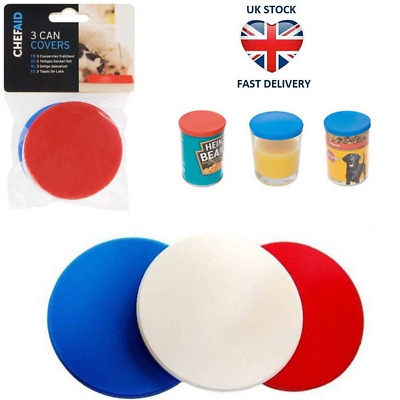 Chef Aid 3 Can Covers/Plastic Reusable Tin Lids Pet Food Keeps Food Fresh 7.5cm