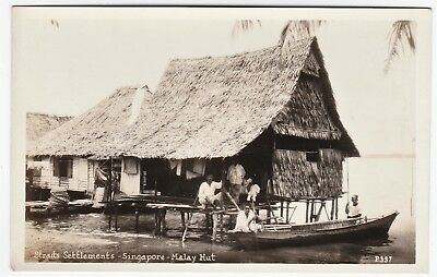 RARE Real Photo Postcard - Singapore 1920s Malay Hut Straits Settlements RPPC