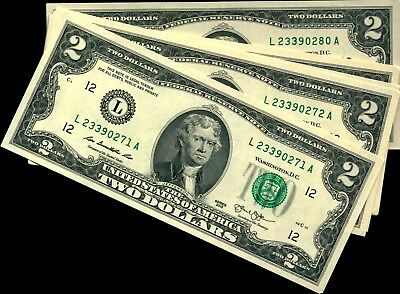 10 consecutive $2 FRN notes 2013 series from San Francisco FRB all CU