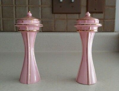 """VINTAGE SPACE NEEDLE SALT N PEPPER SHAKERS  MCM RARE pink & gold 4 1/2"""" tall"""