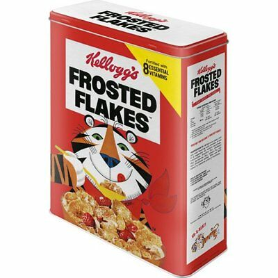XLarge Retro Storage Tin Metal Box KELLOGG'S FROSTED FLAKES Red Tiger Licensed