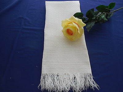 Vintage White Linen Damask Show Towel with Fringe