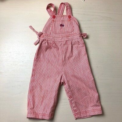 Vintage Izod Lacoste baby girl overalls 12 months red striped side ties