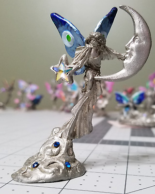 Gallo pewter fairy, Dreams Fulfilled, holding star crystal, with moon