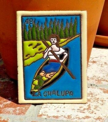 LA CHALUPA LOTERIA RED CLAY TILE 3 IN x 4 IN HAND MADE MEXICO WITH FREE SHIPPING