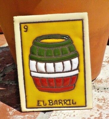 EL BARRIL LOTERIA RED CLAY TILE 3 IN x 4 IN HAND MADE MEXICO WITH FREE SHIPPING