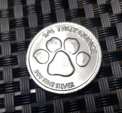 2010 Paw Print Silver 1/4 oz Fine.999 Silver Coin/Round,Quarter Ounce*Free Post*