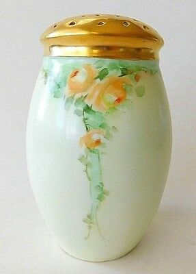 Antique Vintage c1910 Bavaria Porcelain Muffineer Sugar Shaker Hand Painted Rose