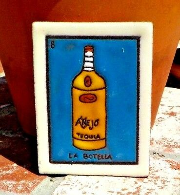 LA BOTELLA LOTERIA RED CLAY TILE 3 IN x 4 IN HAND MADE MEXICO WITH FREE SHIPPING