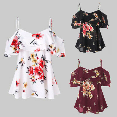 Womens Off Shoulder Floral Summer Tops Ladies Loose Casual Blouse Tee Shirt New