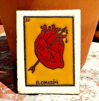 EL CORAZON LOTERIA RED CLAY TILE 3 IN x 4 IN HAND MADE MEXICO WITH FREE SHIPPING