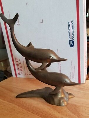 Large Brass Twin Dolphins Statue Or Figurine