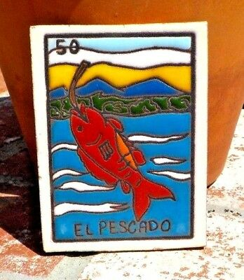 EL PESCADO LOTERIA RED CLAY TILE 3 IN x 4 IN HAND MADE MEXICO W/ FREE SHIPPING