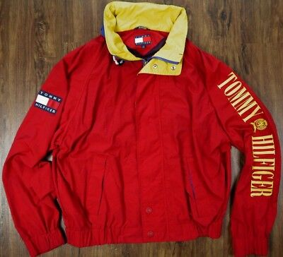 VINTAGE 90s TOMMY HILFIGER arm sleeve spell-out SAILING flag patch jacket mens L