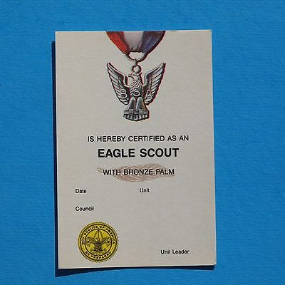 Eagle Scout Bronze Palm Card 1987 Printing  Certificate  New  Boy Scouts - 2392