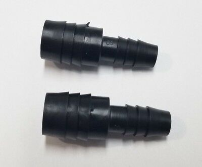 "(2) Two 5/8"" x 3/8"" Hose ID Black HDPE Barbed Plastic Reducer Connector Fittings"