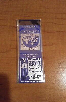 Vintage Lord Calvert Inn Route 1 College Park MD Maryland Matchbox Cover Empty