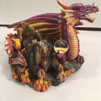 Myths & Legends Purple Dragon Figurine Candle Adams Apple Creations 2002