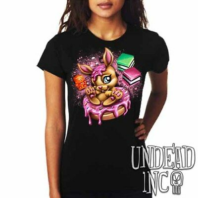 Cute Donut Bunny Rabbit Tee - Cupcakes Candy Lollies Sweet  - Ladies T Shirt