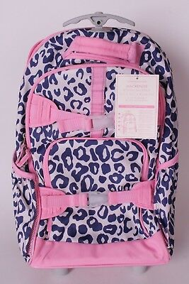 Nwt Pottery Barn Kids Mackenzie Rolling Backpack Navy Cheetah