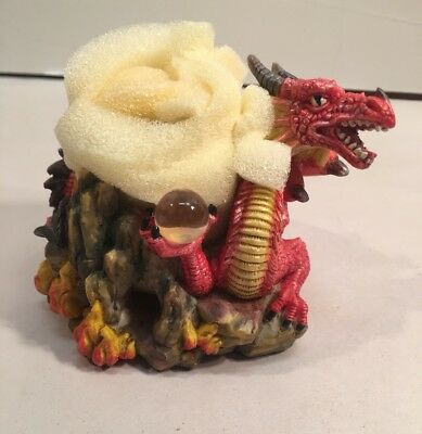 Myths & Legends Red Dragon Figurine Candle Holder  Adams Apple Creations 2002