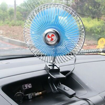 Auto Car Fan Vehicle Dashboard Portable  Clip-On 12/24V Cooling 360° Rotating US