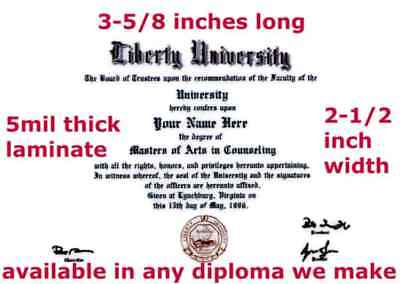 WALLET SIZE LAMINATED Doctorate Diploma / Degree Custom made & Designed for YOU