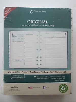 New/Sealed-Franklin Covey Original Jan-Dec 2018 Daily Planner Refill-2 pages/Day