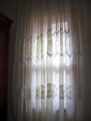 """Vintage pair of curtain panels w lace inset 50"""" x82"""""""