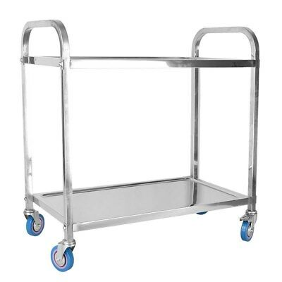 Commercial 2-Shelf 304 Stainless Steel kitchen Utility Cart with 4casters US
