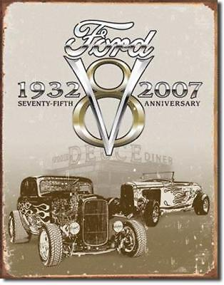Ford V8 75th Anniversary Automotive Cars Metal Tin Sign