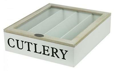 White TIMBER Cutlery BOX Glass LID Knives Forks Spoons CONTAINER Canteen DRAW BN