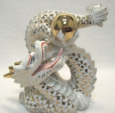 VTG Asian Oriental Chinese Feng Shui Dragon Holding Gold Ball Figurine Ceramic