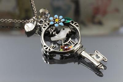 Bird Flower Leaf Key Crystal Pendant Old Silver Plated Long Chain Necklace N014