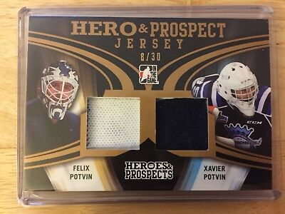 felix Potvin & xavier potvin 2016 Leaf Heroes And Prospects Gold Dual Jersey
