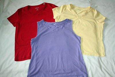 Lot of 3 womens blouses short sleeve tank tops size XL