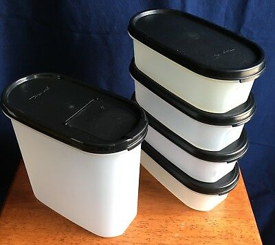 Tupperware Lot/5 Modular Mates Oval Containers w/NEW Black Seals 4 x #1's & #3