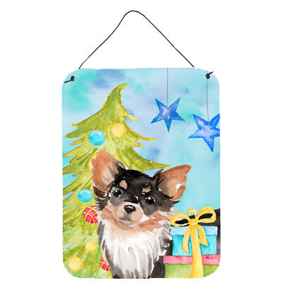 Long Haired Chihuahua Christmas Wall or Door Hanging Prints