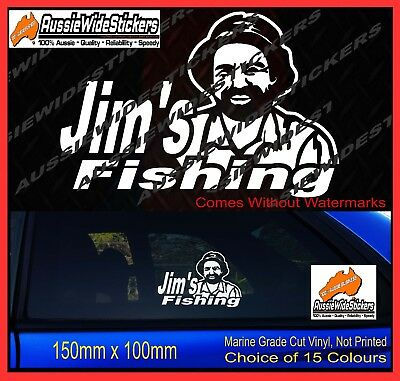 JIM'S Fishing Stickers Funny Decals for boat 4X4 Trailer Caravan 150mm