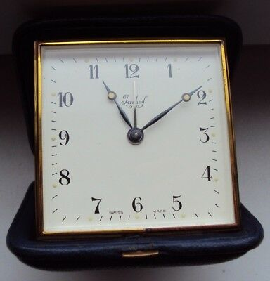 Vintage Travel Alarm Clock Arthur Imhof  Cal. 212 7 jewels Swiss Made