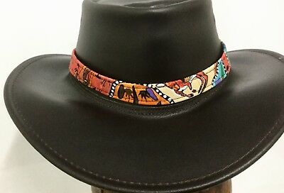 Stunning colours Aboriginal Print Cotton Hat Band Adjustable  Fits most Hats