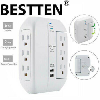 Surge Protector Wall Outlet with USB Ports 6 AC 3 Side Swivel Outlet Power Strip