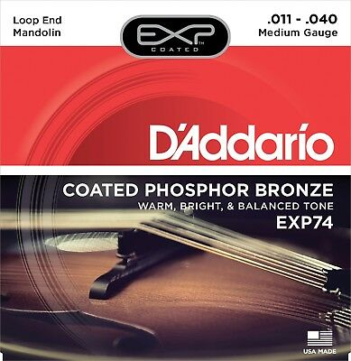 D'Addario EXP74 Mandolin Strings Coated Phosphor Bronze Medium 11-40