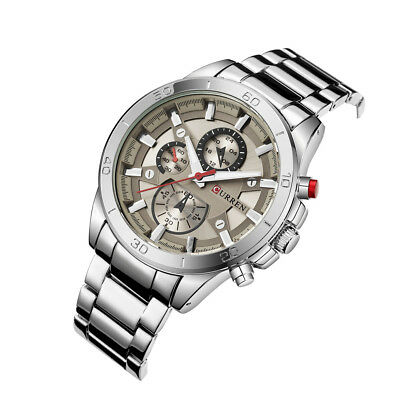 CURREN Mens Fashion Sports Stainless Steel Watch Chronograph Quartz Wristwatches